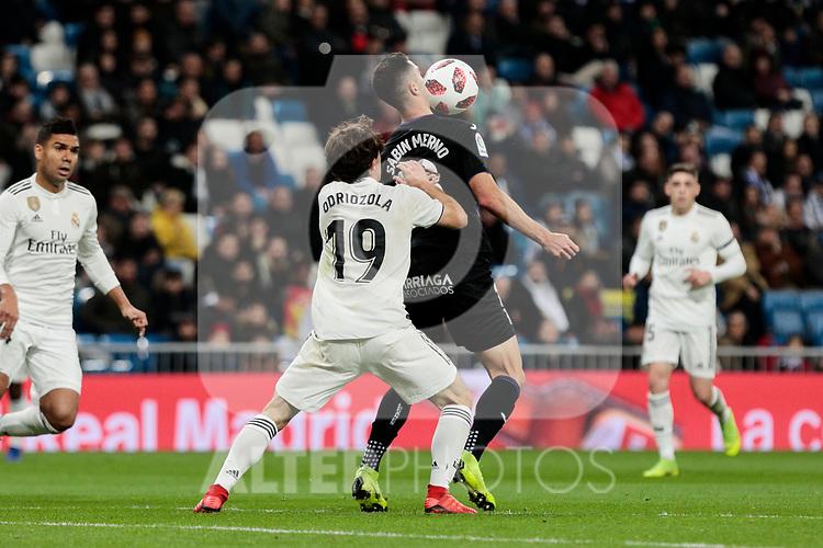 Real Madrid's Alvaro Odriozola and CD Leganes's Sabin Merino fight for the ball during Copa Del Rey match between Real Madrid and CD Leganes at Santiago Bernabeu Stadium in Madrid, Spain. January 09, 2019. (ALTERPHOTOS/A. Perez Meca)<br />  (ALTERPHOTOS/A. Perez Meca)