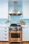 Detail of kitchen remodel, Wolf range and Ventahood. Design by Kristyn Bester Design. Cap and Feather Photography.