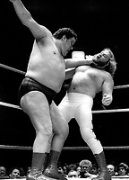 Andre the Giant Big John Studd 1985<br /> Photo By Adam Scull/PHOTOlink.net