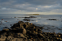Pladda and Pladda Lighthouse at dusk from Kildonan, Isle of Arran, Ayrshire<br /> <br /> Copyright www.scottishhorizons.co.uk/Keith Fergus 2011 All Rights Reserved