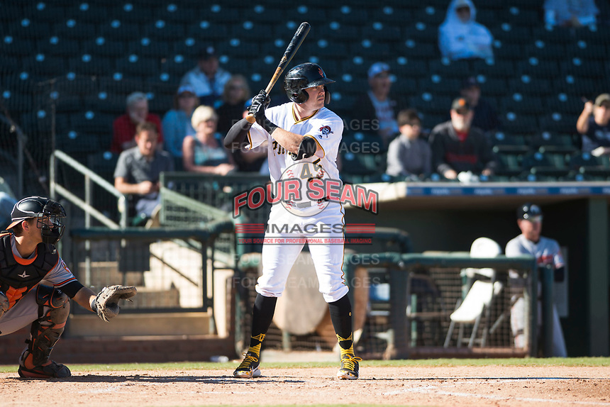Surprise Saguaros first baseman Will Craig (45), of the Pittsburgh Pirates organization, at bat in front of catcher Martin Cervenka (25) during an Arizona Fall League game against the Glendale Desert Dogs at Surprise Stadium on November 13, 2018 in Surprise, Arizona. Surprise defeated Glendale 9-2. (Zachary Lucy/Four Seam Images)
