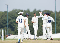 Tim Murtagh and Middlesex celebrate the second wicket to fall in the mornings play during Middlesex CCC vs Hampshire CCC, Bob Willis Trophy Cricket at Radlett Cricket Club on 11th August 2020