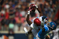 Arkansas wide receiver Treylon Burks (16) catches, Saturday, October 9, 2021 during the third quarter of a football game at Vaught Hemingway Stadium in Oxford, Miss. Check out nwaonline.com/211010Daily/ for today's photo gallery. <br /> (NWA Democrat-Gazette/Charlie Kaijo)