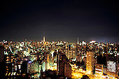 Sao Paulo, Brazil. Overview of the city centre skyline at night.
