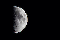 First Quarter - the moon is making its celestial journey to full, then back again.