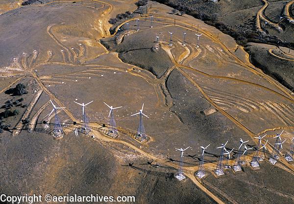aerial photograph of wind turbines, Tehachapi, Kern County, California