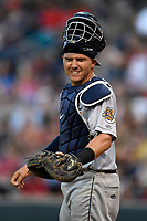 Catcher Donny Sands (15) of the Charleston RiverDogs in a game against the Greenville Drive on Thursday, July 27, 2017, at Fluor Field at the West End in Greenville, South Carolina. Charleston won, 5-2. (Tom Priddy/Four Seam Images)