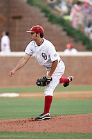 Jack Mayfield of the Oklahoma Sooners playing in Game Two of the NCAA Super Regional tournament against the Virginia Cavaliers at Charlottesville, VA - 06/13/2010. Oklahoma defeated Virginia, 10-7, to tie the series after two games.  Photo By Bill Mitchell / Four Seam Images