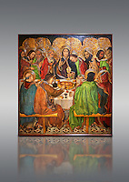 Gothic altarpiece depicting the Last Supper (Sant Sopar) by Jaume Huguet, circa 1463 - 1475, Temperal and gold leaf on wood, from the convent of Sant Augusti Vell, Barcelona.  National Museum of Catalan Art, Barcelona, Spain, inv no: MNAC  40412.