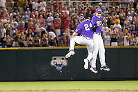 TCU wins 2860.jpg against Florida State at the College World Series on June 23rd, 2010 at Rosenblatt Stadium in Omaha, Nebraska.  (Photo by Andrew Woolley / Four Seam Images)