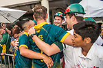 Aubrey Swanepoel and Sarel Erwee of South Africa celebrate with the fans after winning Hong Kong Cricket World Sixes 2017 Cup final match between Pakistan vs South Africa at Kowloon Cricket Club on 29 October 2017, in Hong Kong, China. Photo by Vivek Prakash / Power Sport Images