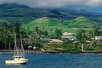 Hana from the pier<br /> Hana Beach County Park<br /> Hana Highway<br /> Island of Maui, Hawaii