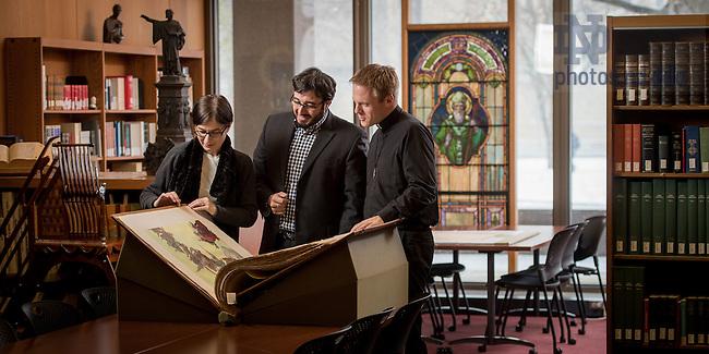 Feb. 9, 2016; NDIAS fellows in the Rare Book Room. (Photo by Matt Cashore/University of Notre Dame)
