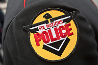 Six Nations Police badge is seen during a police memorial parade in Ottawa Sunday September 26, 2010.