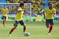 BARRANQUILLA – COLOMBIA, 10-10-2021:  Juan Fernandop Quintero, Roger Martinez de Colombia durante partido entre los seleccionados de Colombia (COL) y Brasil (BRA), de la fecha 12 por la clasificatoria a la Copa Mundo FIFA Catar 2022, jugado en el estadio Metropolitano Roberto Melendez en Barranquilla. / Juan Fernandop Quintero, Roger Martinez of Colombia during match between the teams of Colombia (COL) and Brasil(BRA), of the 12th date for the FIFA World Cup Qatar 2022 Qualifier, played at Metropolitan stadium Roberto Melendez in Barranquilla. Photo: VizzorImage / Jairo Cassiani / Contribuidor