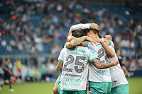KANSAS CITY, KS - AUGUST 10: Club Leon players celebrate a goal during a game between Club Leon and Sporting Kansas City at Children's Mercy Park on August 10, 2021 in Kansas City, Kansas.