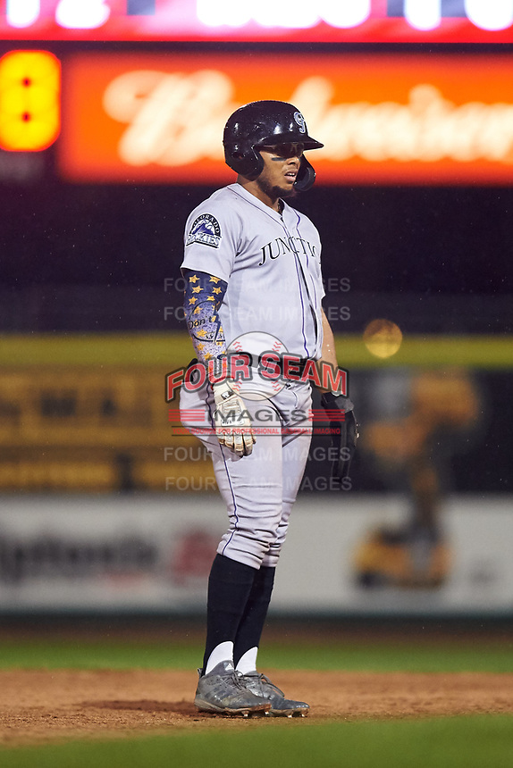 Grand Junction Rockies Todd Isaacs (1) leads off second base during a Pioneer League game against the Grand Junction Rockies at Dehler Park on August 15, 2019 in Billings, Montana. Billings defeated Grand Junction 11-2. (Zachary Lucy/Four Seam Images)
