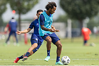 FRISCO, TX - JULY 20: Gianluca Busio passes the ball during a training session at Toyota Soccer Center FC Dallas on July 20, 2021 in Frisco, Texas.