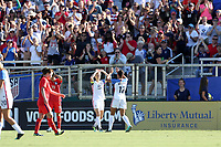 Cary, NC - Sunday October 22, 2017: Lynn Williams celebrates her goal with Megan Rapinoe during an International friendly match between the Women's National teams of the United States (USA) and South Korea (KOR) at Sahlen's Stadium at WakeMed Soccer Park. The U.S. won the game 6-0.