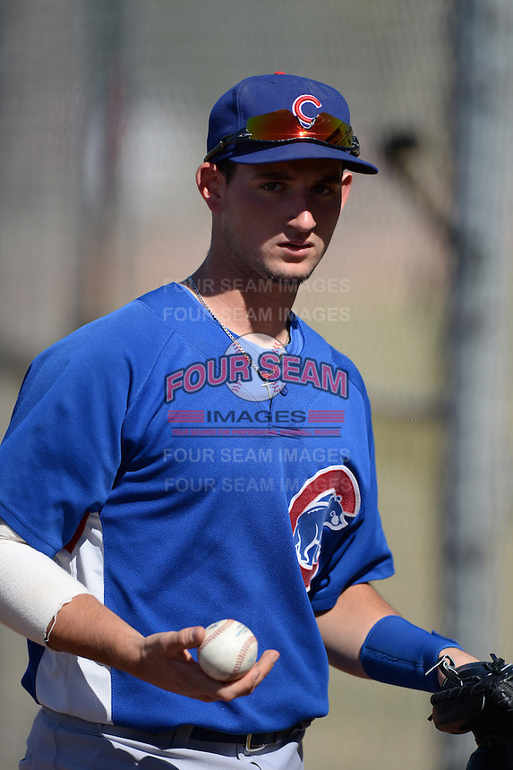 Chicago Cubs catcher Alberto Mineo (56) during an Instructional League game against the San Francisco Giants on October 18, 2013 at Giants Baseball Complex in Phoenix, Arizona.  (Mike Janes/Four Seam Images)