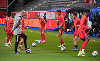 Yorbe Vertessen (9) of Belgium , Koni De Winter (14) of Belgium  and Arthur Theate (5) of Belgium warming up before a soccer game between the national teams Under21 Youth teams of Belgium and Denmark on the fourth matday in group I for the qualification for the Under 21 EURO 2023 , on tuesday 12 th of october 2021  in Leuven , Belgium . PHOTO SPORTPIX   STIJN AUDOOREN