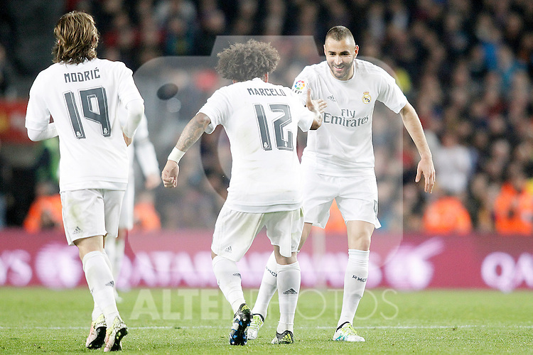 Real Madrid's Luka Modric, Marcelo Vieira and Karim Benzema celebrate goal during La Liga match. April 2,2016. (ALTERPHOTOS/Acero)