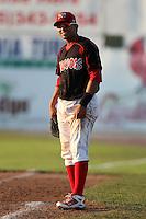 Batavia Muckdogs first baseman Romulo Ruiz #23 during a game against the Auburn Doubledays at Dwyer Stadium on July 17, 2011 in Batavia, New York.  Batavia defeated Auburn 8-3.  (Mike Janes/Four Seam Images)