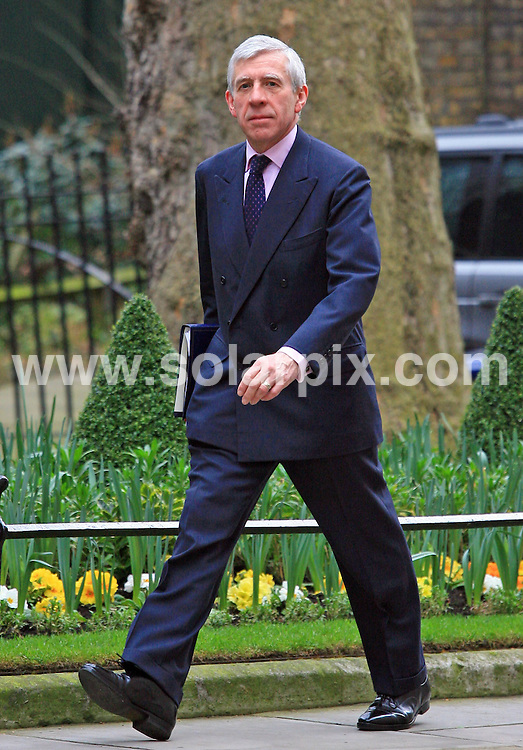 **ALL ROUND PICTURES FROM SOLARPIX.COM**.**WORLDWIDE SYNDICATION RIGHTS**.MP Jack Straw arrives at Number 11 Downing Street in London on Wednesday 24 March 2010. The Labour government will deliver a critical pre-election budget to help fix the dire public finances but some experts fear political posturing with an election around the corner..This pic:   MP Jack Straw.JOB REF:   10970    LDN     DATE:  24.03.10.**MUST CREDIT SOLARPIX.COM OR DOUBLE FEE WILL BE CHARGED**.**MUST NOTIFY SOLARPIX OF ONLINE USAGE**.**CALL US ON: +34 952 811 768 or LOW RATE FROM UK 0844 617 7637**
