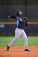 Tampa Bay Rays Adrian Rondon (3) during a minor league Spring Training game against the Boston Red Sox on March 23, 2016 at Charlotte Sports Park in Port Charlotte, Florida.  (Mike Janes/Four Seam Images)