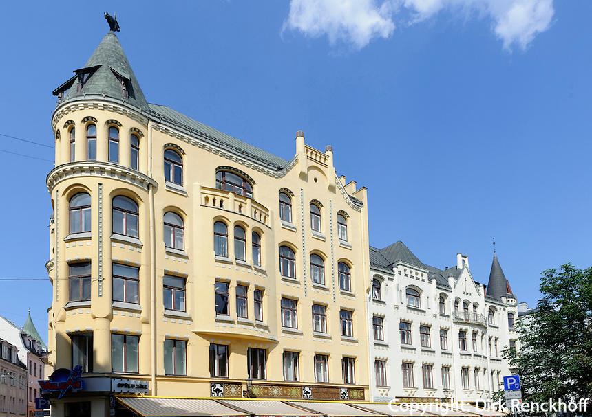 Katzenhaus beim Livu Laukums in Riga, Lettland, Europa, Unesco-Weltkulturerbe