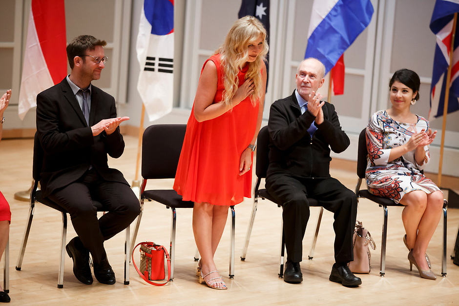 Jury Member Jana Bouskova of the Czech Republic stands for recognition during the opening ceremony of the 11th USA International Harp Competition at Indiana University in Bloomington, Indiana on Wednesday, July 3, 2019. (Photo by James Brosher)