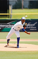 Dunedin Blue Jays starting pitcher Simeon Woods Richardson (10) during a game against the Clearwater Threshers on August 7, 2019 at Spectrum Field in Clearwater, Florida.  Clearwater defeated Dunedin 3-1.  (Mike Janes/Four Seam Images)