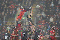 Yannick Nyanga of Stade Toulousain at full stretch in the lineout against Louis Deacon of Leicester Tigers during the Heineken Cup 6th round match between Leicester Tigers and Stade Toulousain at Welford Road on Sunday 20th January 2013 (Photo by Rob Munro).