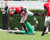 The Georgia Bulldogs played North Texas Mean Green at Sanford Stadium.  After North Texas tied the game at 21 early in the second half, the Georgia Bulldogs went on to score 24 unanswered points to win 45-21.  Georgia Bulldogs cornerback Damian Swann (5)