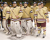 Brian Billett (BC - 1), Chris Venti (BC - 30), Parker Milner (BC - 35), Kevin Hayes (BC - 12), Danny Linell (BC - 10), Pat Mullane (BC - 11) - The Boston College Eagles defeated the Boston University Terriers 3-2 (OT) to win the 2012 Beanpot championship on Monday, February 13, 2012, at TD Garden in Boston, Massachusetts.