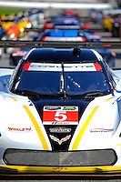 22-25 January, 2015, Daytona Beach, Florida USA<br /> The #5 Corvette at the front of the 53rd Rolex 24 at Daytona full field.<br /> ©2015, F. Peirce Williams