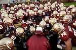 Head coach Bobby Bowden goes through a drill with his Seminoles during warm-ups before playing the Florida Gators at Bobby Bowden Field in Tallahassee, Florida November 29, 2008. (Mark Wallheiser/TallahasseeStock.com)
