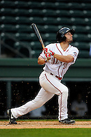 Outfielder Bo Greenwell (31) of the Greenville Drive bats in a game against the Charleston RiverDogs on Monday, April 14, 2014, at Fluor Field at the West End in Greenville, South Carolina. Charleston won, 11-3. (Tom Priddy/Four Seam Images)