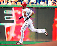 21 June 2010: Washington Nationals' outfielder Mike Morse rounds the bases after hitting a solo home run to open the scoring against the Kansas City Royals at Nationals Park in Washington, DC. The Nationals edged out the Royals 2-1 in the first game of their 3-game interleague series, snapping a 6-game losing streak. Mandatory Credit: Ed Wolfstein Photo