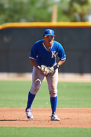 Kansas City Royals Samir Duenez (8) during an Instructional League game against the Texas Rangers on October 4, 2016 at the Surprise Stadium Complex in Surprise, Arizona.  (Mike Janes/Four Seam Images)