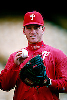 Mike Leiberthal of the Philadelphia Phillies participates in a Major League Baseball game at Dodger Stadium during the 1998 season in Los Angeles, California. (Larry Goren/Four Seam Images)