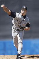 Matt Mantei of the Arizona Diamondbacks pitches during a 2002 MLB season game against the Los Angeles Dodgers at Dodger Stadium, in Los Angeles, California. (Larry Goren/Four Seam Images)