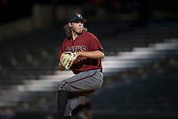 AZL Diamondbacks relief pitcher Jake Polancic (21) delivers a pitch during an Arizona League game against the AZL Angels at Tempe Diablo Stadium on June 27, 2018 in Tempe, Arizona. The AZL Angels defeated the AZL Diamondbacks 5-3. (Zachary Lucy/Four Seam Images)