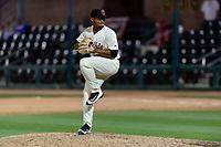 Visalia Rawhide relief pitcher Erbert Gonzalez (35) during a California League game against the Rancho Cucamonga Quakes on April 8, 2019 in Visalia, California. Rancho Cucamonga defeated Visalia 4-1. (Zachary Lucy/Four Seam Images)