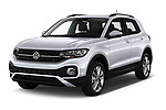 2019 Volkswagen T-Cross Life 5 Door SUV Angular Front automotive stock photos of front three quarter view