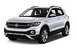 2019 Volkswagen T-Cross Life 5 Door SUV Angular Front automotive stock photos of front three quarter view