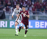 TORINO ITALY- October 2 <br /> Stadio Olimpico Grande Torino<br /> Adrien Rabiot Sasa Lukic<br /> during the Serie A match between Fc  Torino and Juventus Fc at Stadio Olimpico on October 2, 2021 in Torino, Italy.