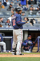 Apr 07, 2011; Bronx, NY, USA; Minnesota Twins infielder Alexi Casilla (12) during game against the New York Yankees at Yankee Stadium. Yankees defeated the Twins 4-3. Mandatory Credit: Tomasso DeRosa / Four Seam Images