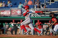 Auburn Doubledays Jose Sanchez (44) bats during a NY-Penn League game against the Batavia Muckdogs on June 18, 2019 at Dwyer Stadium in Batavia, New York.  Batavia defeated Auburn 7-5.  (Mike Janes/Four Seam Images)