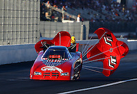 Nov 9, 2013; Pomona, CA, USA; NHRA funny car driver Gary Densham during qualifying for the Auto Club Finals at Auto Club Raceway at Pomona. Mandatory Credit: Mark J. Rebilas-